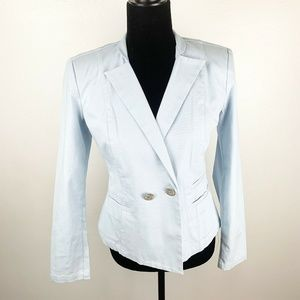 Cabi Light Baby Blue Double Breasted Blazer Jacket